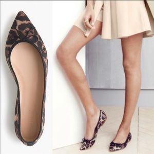 J. Crew Leopard Satin Pointy Toe Ballet FlatSz 8.5